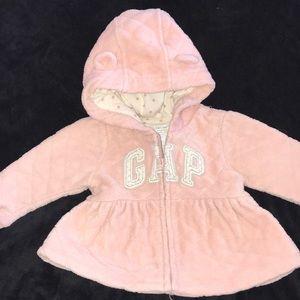 Baby Gap pink bear sweater 6-12 months bear ears